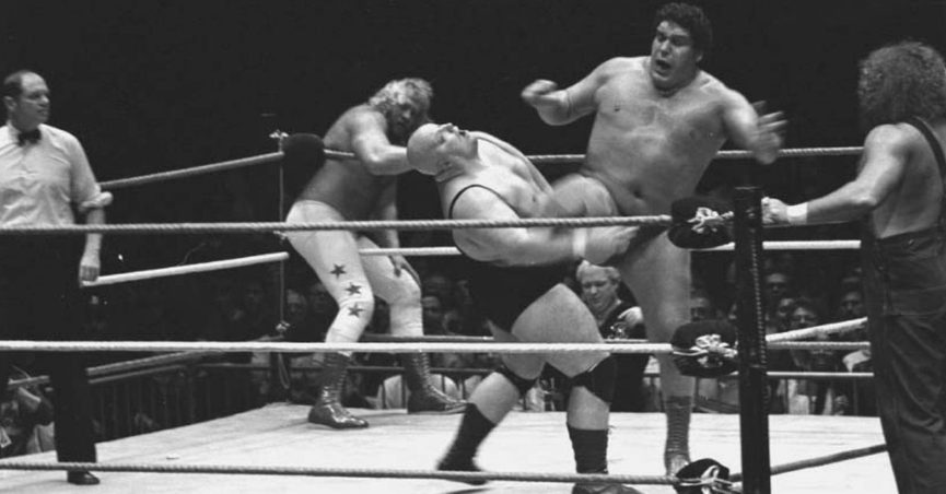 """An image shows wrestler André the Giant portraying Bigfoot on the show """"Six Million Dollar Man"""" in 1976."""