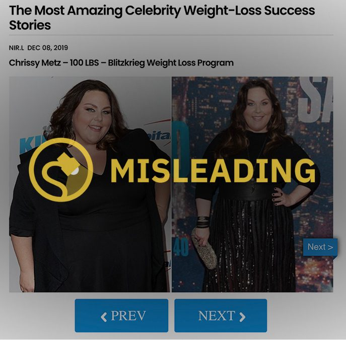 Chrissy Metz weight loss ads showed the This Is Us star in a misleading way.