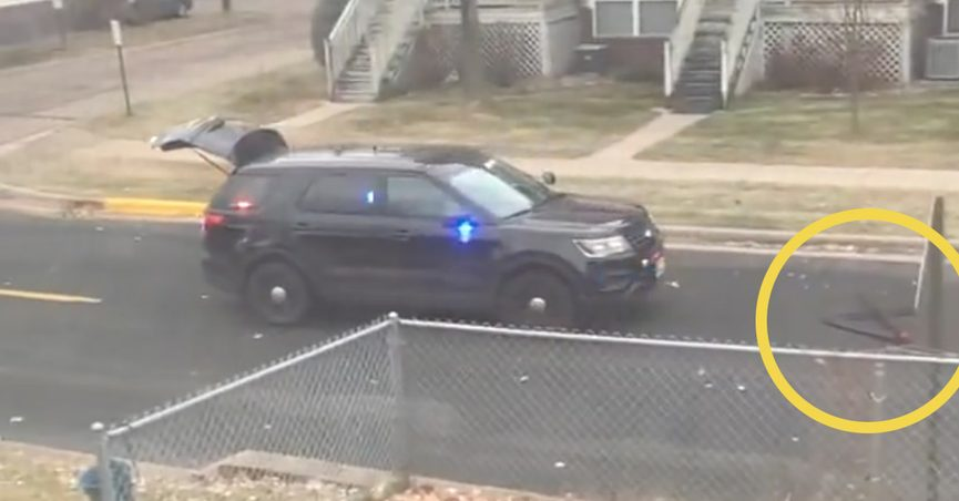 A cop purportedly in Minneapolis Minnesota ran over his own spike strip after it fell out of the police officer's open trunk.