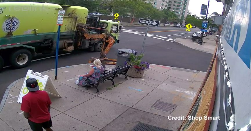 A garbage truck threw a woman off a bus stop bench and she was labeled a granny by a TikTok video and it took place in Rochester New York in July 2020.