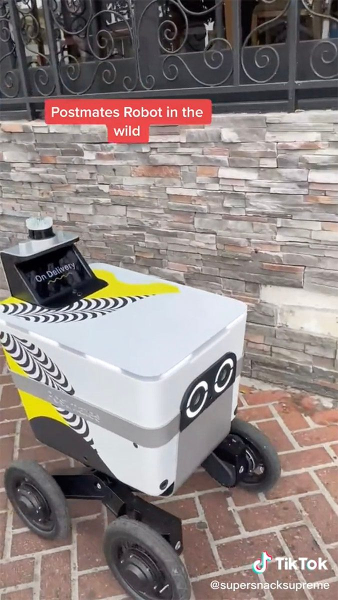 A Postmates Serve delivery robot was spotted in Los Angeles in a TikTok video.