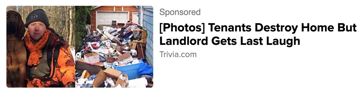 Ads about Thomas Ravaux claimed Tenants Destroy Home But Landlord Gets Last Laugh and Landlord Gets Ultimate Revenge When Tenants Leave.
