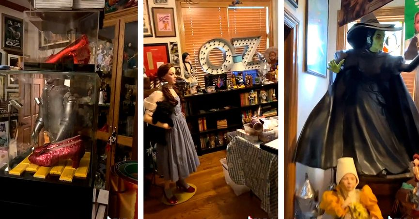 A massive and amazing Wizard of Oz collection of memorabilia and collectibles was featured in a TikTok video.