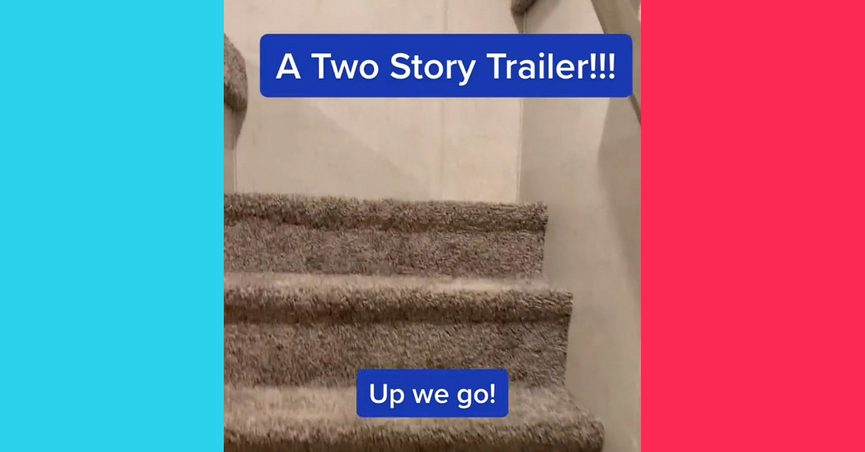 A 2 story trailer or two story RV was shown in a TikTok video when the actual second story was just a loft.
