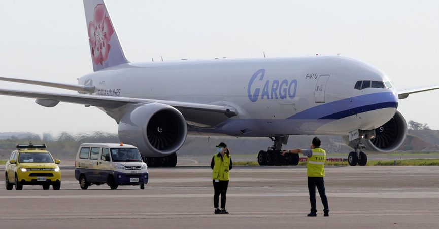 In this photo released by the Taiwan Centers for Disease Control, a China Airlines cargo plane carrying COVID-19 vaccines from Memphis arrive at the airport outside Taipei, Taiwan, Sunday, June 20, 2021. The U.S. sent 2.5 million doses of the Moderna COVID-19 vaccine to Taiwan on Sunday, tripling an earlier pledge in a donation with both public health and geopolitical meaning. (Taiwan Centers for Disease Control via AP)