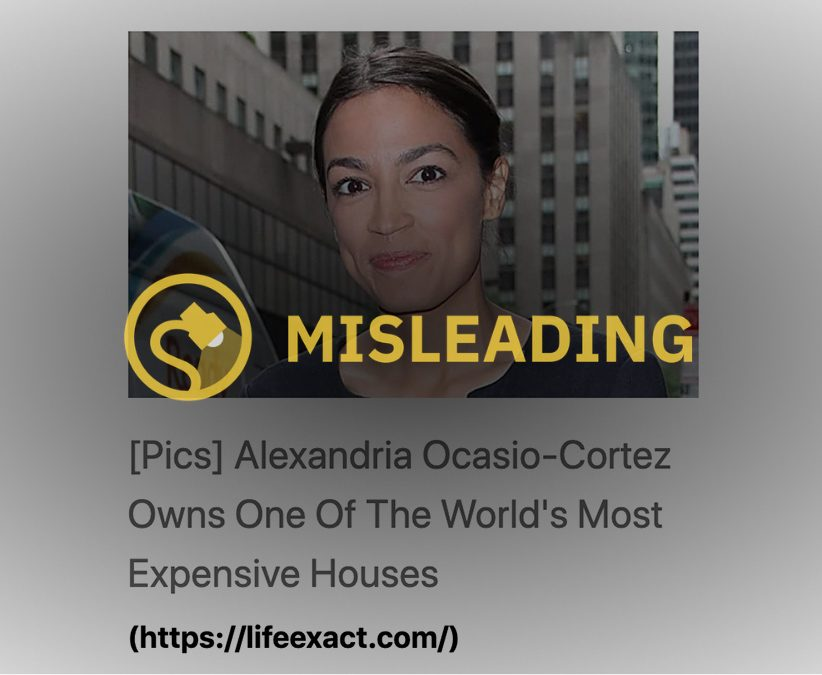 AOC whose full name is Alexandria Ocasio-Cortez does not own one of the world's most expensive houses.