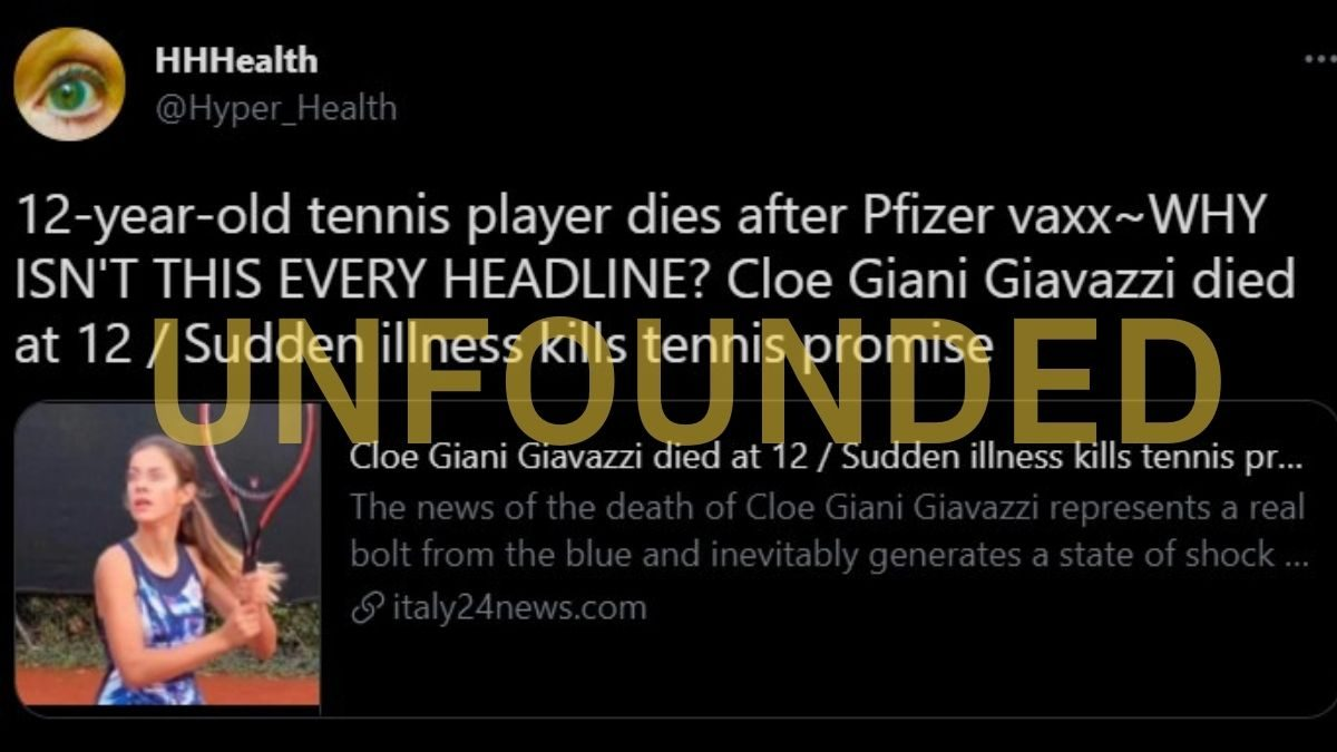 There's No Evidence 12-Year-Old Tennis Star Died From COVID Vaccine - snopes