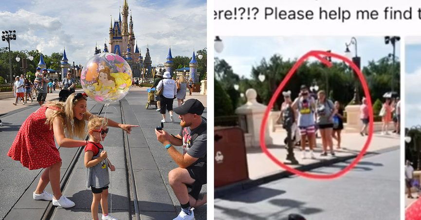 A couple got engaged at Walt Disney World Resort in front of Cinderella Castle at Magic Kingdom and they're on the hunt for people who appeared to be taking a video of the magical moment.
