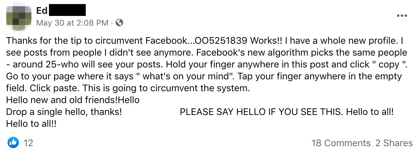 A Facebook message with OO5251839 or 005251839 did not circumvent Facebook's algorithm or do anything about a user's friends.