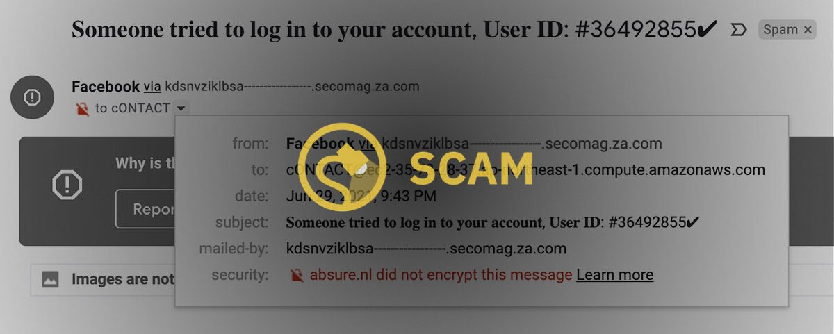 The someone tried to log in to your account Facebook email scam.