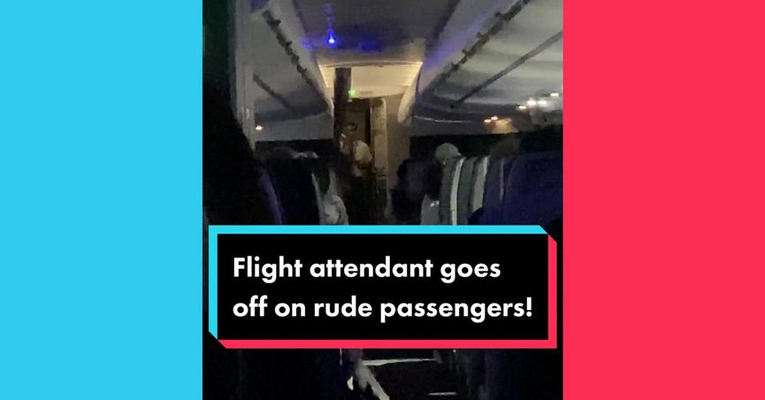 Flight attendant goes off on rude passengers was the name of a TikTok video that showed a speech given on an American Airlines flight from LAX to Charlotte.