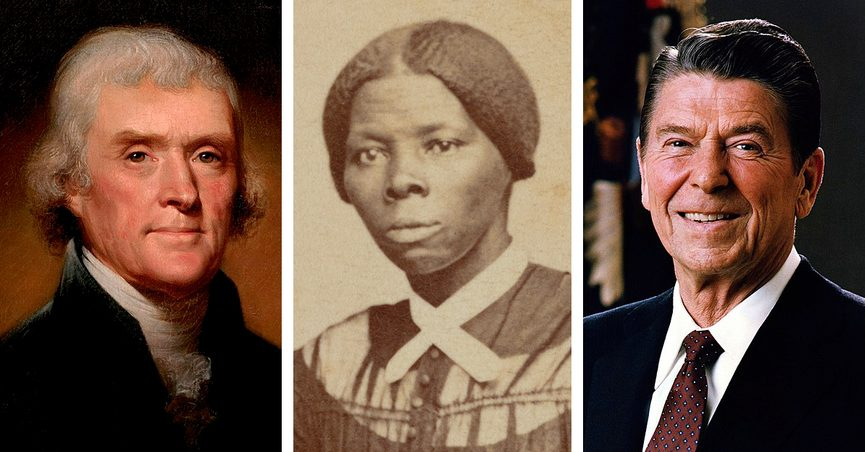 Harriet Tubman was alive when Thomas Jefferson died and when Ronald Reagan was born.
