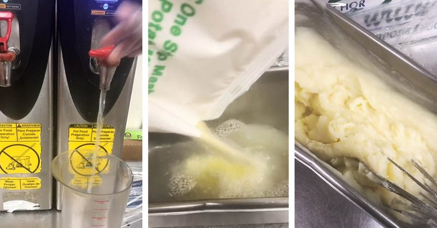 A TikTok video showed how KFC makes its mashed potatoes in the restaurant's kitchens.