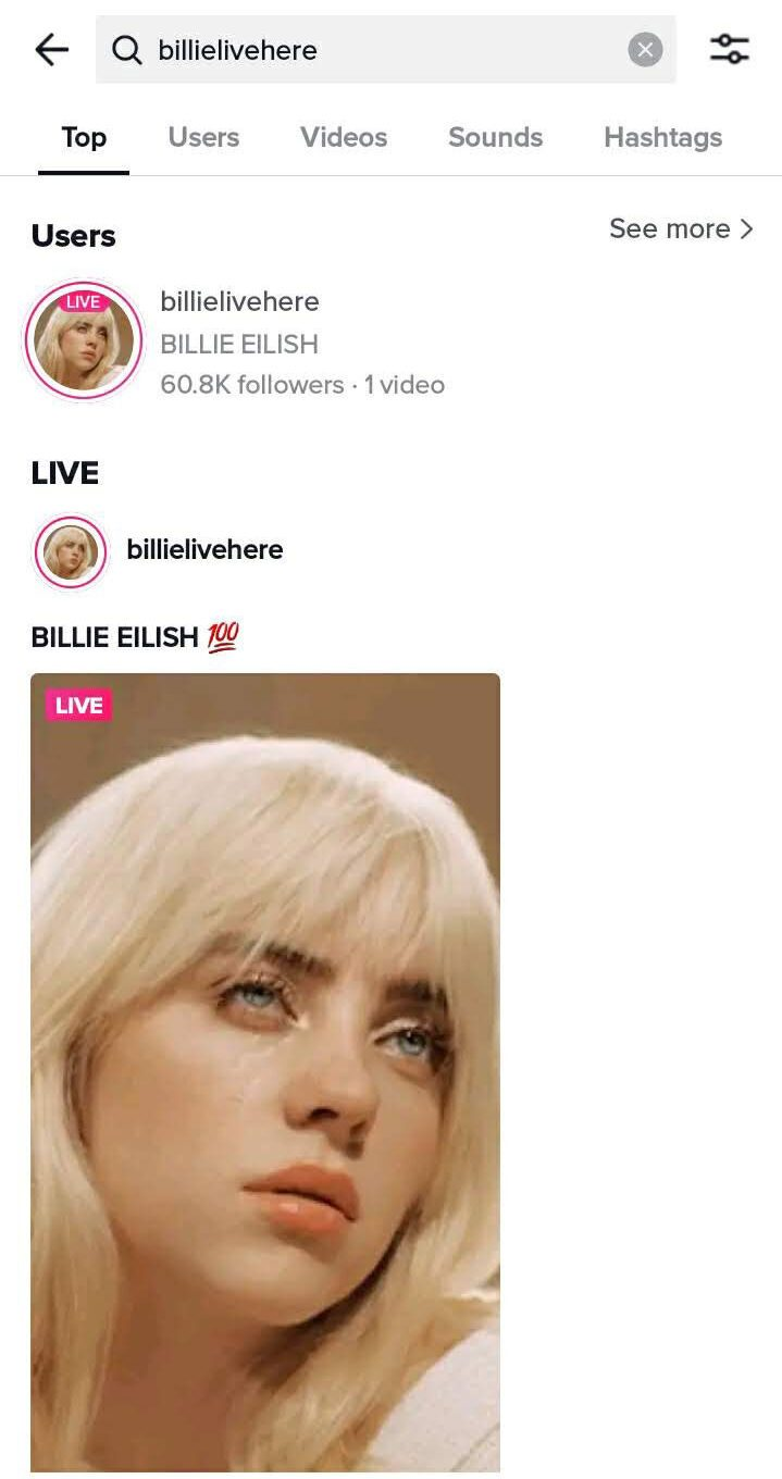 Billie Eilish was not live on TikTok doing a stream or broadcast on June 24 but she fooled thousands.