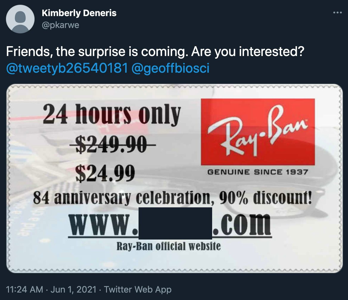 Ray-Ban nor Rayban sunglasses are offering an 84th anniversary sale for 90% off for 24 hours because it's a scam.
