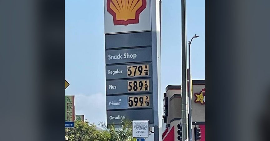 An expensive Shell gas station in Los Angeles California led fooled some Facebook commenters into believing it was the norm for the state.