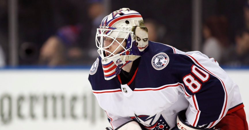 FILE - Columbus Blue Jackets goaltender Matiss Kivlenieks (80) is shown during the second period of an NHL hockey game in New York, in this Sunday, Jan. 19, 2020, file photo. The Columbus Blue Jackets and Latvian Hockey Federation said Monday, July 5, 2021, that 24-year-old goaltender Matiss Kivlenieks has died. The team said in a statement Kivlenieks died from an apparent head injury in a fall after medical personnel arrived. It was not immediately clear what caused the fall or where he was at the time of the incident, and multiple messages were left with team and national federation personnel that were not immediately returned.(AP Photo/Kathy Willens, File)