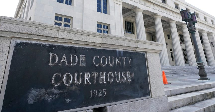 This Oct. 8, 2020 photo shows the Miami-Dade County Courthouse in Miami. Officials say the Miami-Dade County Courthouse will begin undergoing repairs immediately after a review found safety concerns within the building. A joint statement from multiple leaders late Friday, July 9, 2021 says the review was prompted by the collapse of a condo building in Surfside. (AP Photo/Wilfredo Lee)