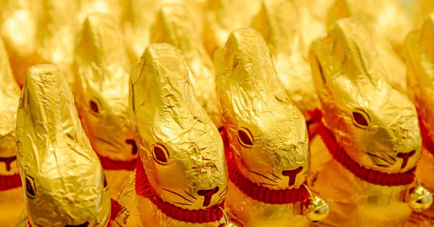 FILE - In this March 14, 20215 file photo chocolade easter bunnies of Lindt stand in a supermarket in Freiburg, Germany. A German federal court ruled Thursday that the golden shade of the foil wrap on Lindt & Spruengli's Gold Bunny, a popular chocolate Easter bunny, enjoys protected status. (Winfried Rothermel/dpa via AP, file)