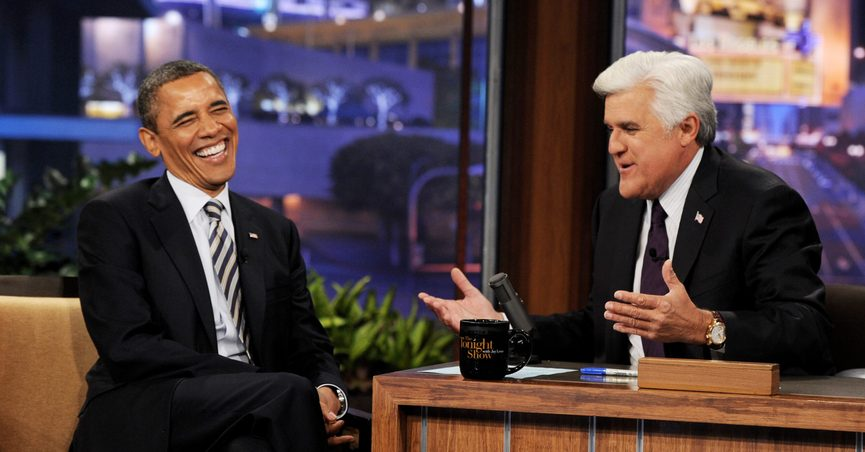 A baseless conspiracy theory is circulating online alleging that Jay Leno lost the gig because of his comments about Barack Obama.