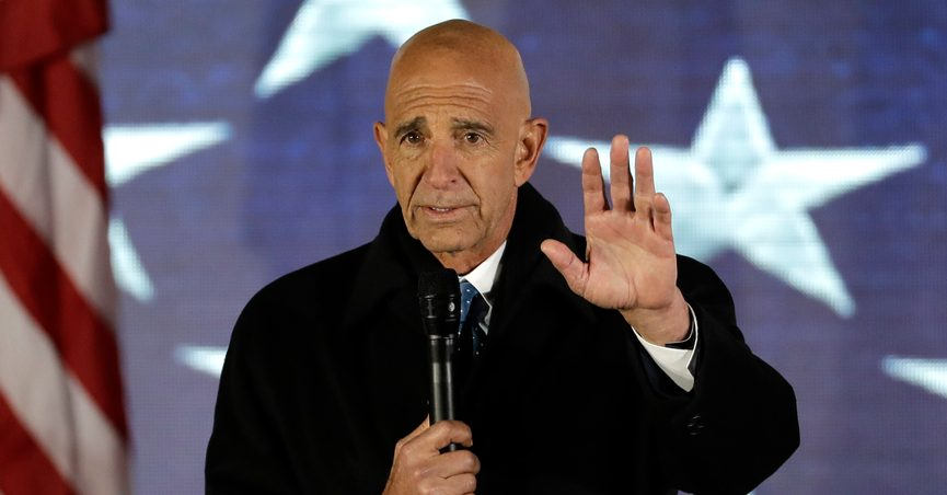 """FILE - This photo from Thursday Jan. 19, 2017, shows Inaugural Committee chairman Tom Barrack speaks at a pre-Inaugural """"Make America Great Again! Welcome Celebration"""" at the Lincoln Memorial in Washington. Barrack, chair of former President Donald Trump's 2017 inaugural committee, was arrested Tuesday, July 20, 2021 in California on charges alleging that he and others conspired to influence Trump's foreign policy positions to benefit the United Arab Emirates. (AP Photo/David J. Phillip, File)"""