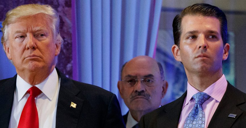 FILE - This file photo from Wednesday Jan. 11, 2017, shows President-elect Donald Trump, left, his chief financial officer Allen Weisselberg, center, and his son Donald Trump Jr., right, during a news conference at Trump Tower in New York. Prosecutors in New York are expected to bring the first criminal charges in a two-year investigation into Trump's business practices, accusing his namesake company and its longtime finance chief Weisselberg of tax crimes. (AP Photo/Evan Vucci, File)