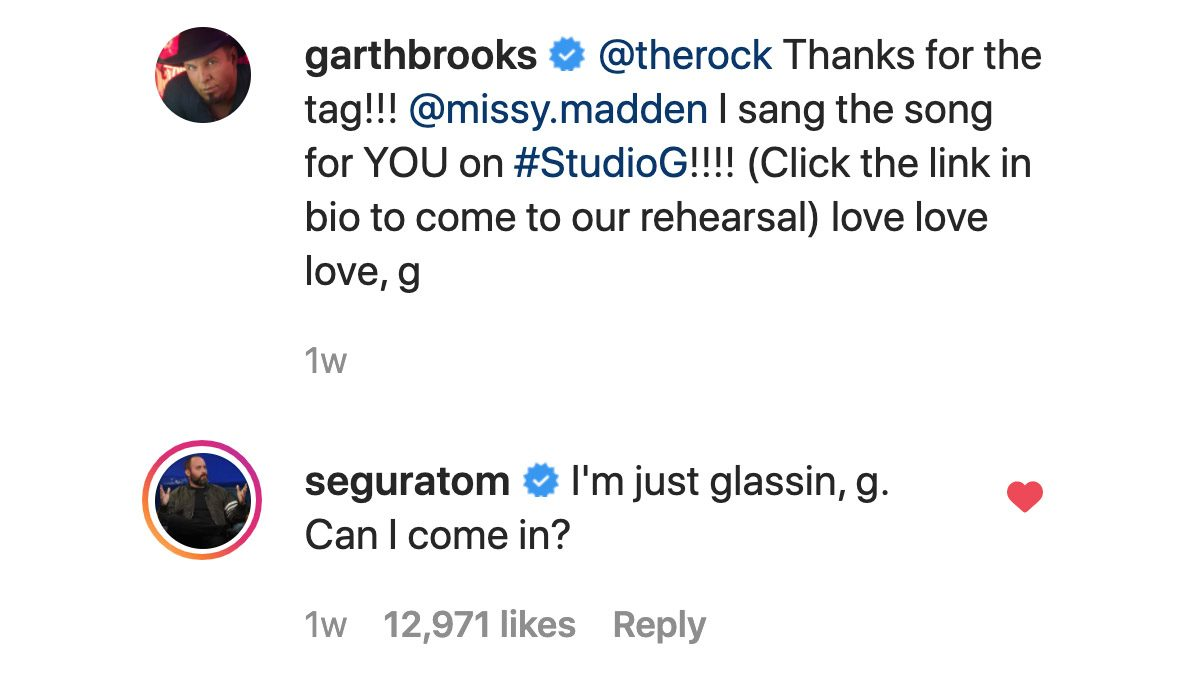 Garth Brooks and his Instagram page have been targeted with jokes from Tom Segura and Christina P who host the podcast Your Moms House for YMH Studios.