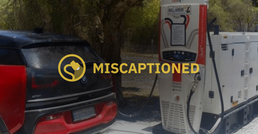The claim is that a photograph shows an electric car charging at a diesel generator car charging station which uses 36 gallons to provide a 200-mile charge.