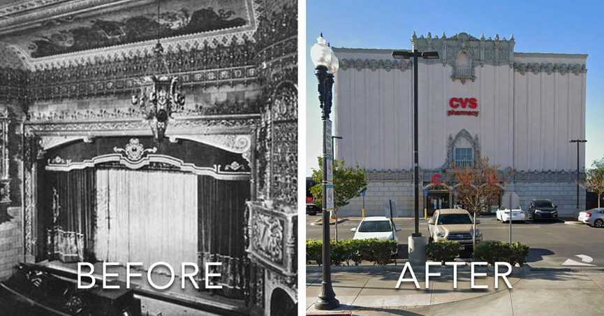 A goth CVS was featured on TikTok and used to be the Golden Gate Theater in East Los Angeles which opened in 1928 after being constructed in 1927.