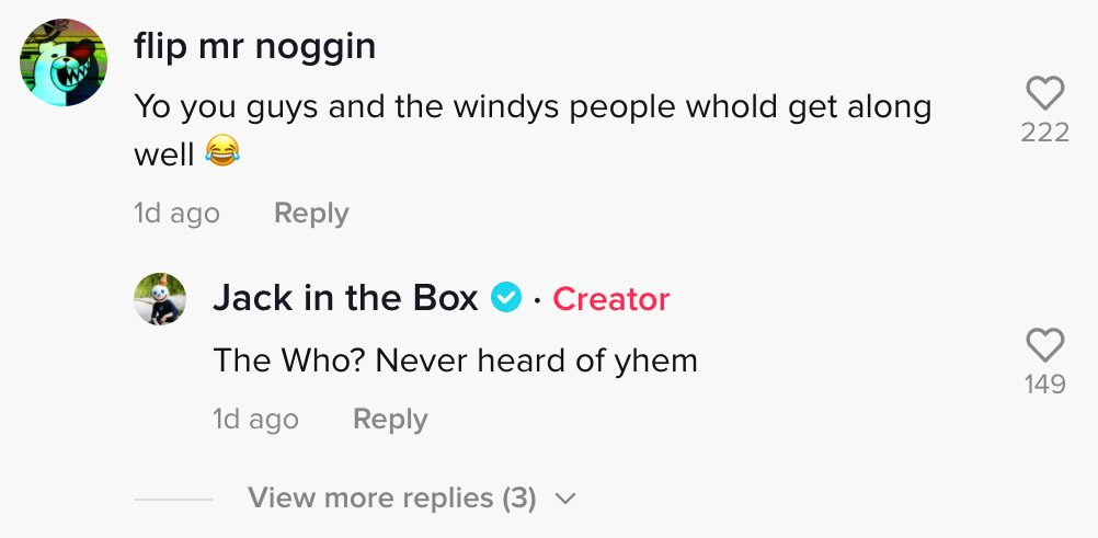 Jack In the Box roasted McDonalds in a TikTok comment about its ice cream machine always seeming to be broken.