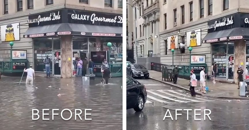 New Yorkers banded together to clear a storm drain of litter during Elsa in viral videos.