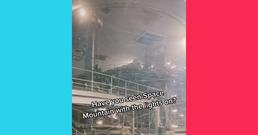 Space Mountain with the lights on is a different experience than riding in the dark at Magic Kingdom at Walt Disney World Resort or Disneyland.