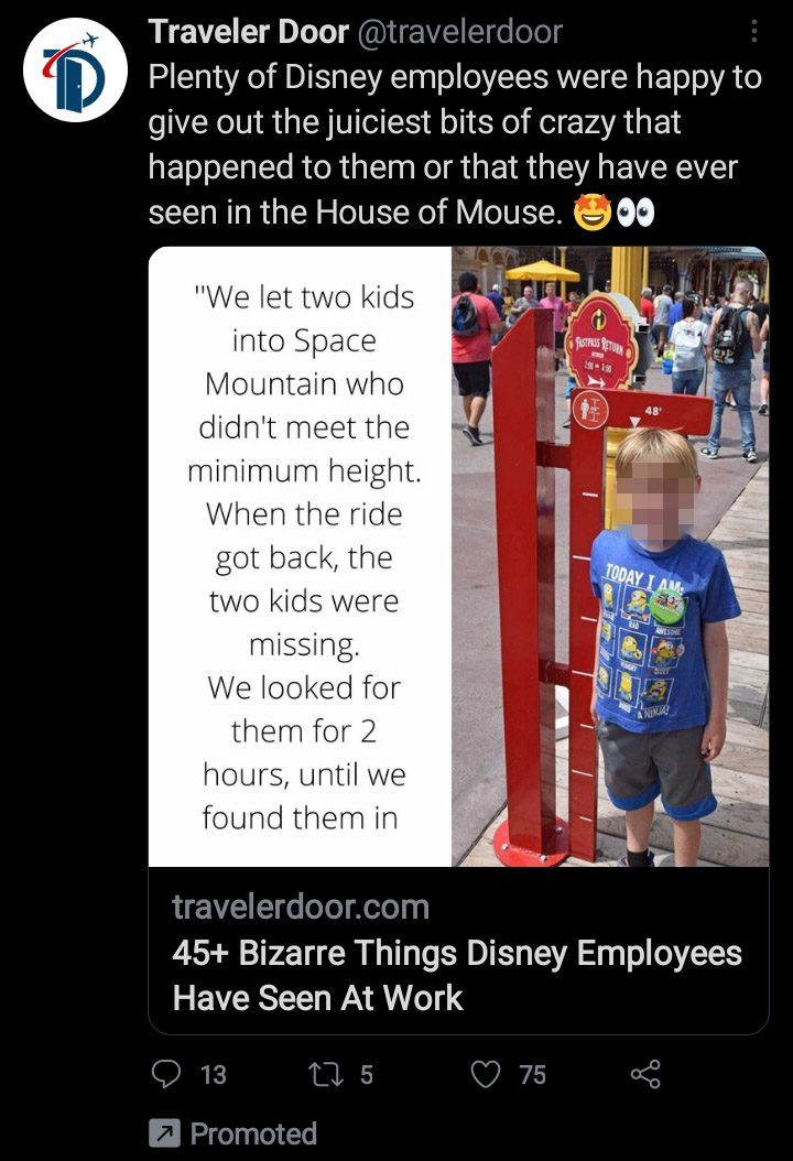 A Space Mountain Disneyland prank involving a girl and a boy who didn't meet the height requirements for the ride and resulted in one of them pretending to be dead and missing was all fake.