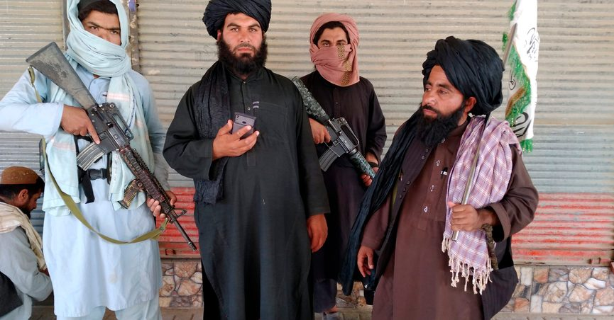 Taliban fighters patrol inside the city of Farah, the capital of Farah province, southwest of Kabul, Afghanistan, Wednesday, Aug. 11, 2021. (AP Photo/Mohammad Asif Khan)