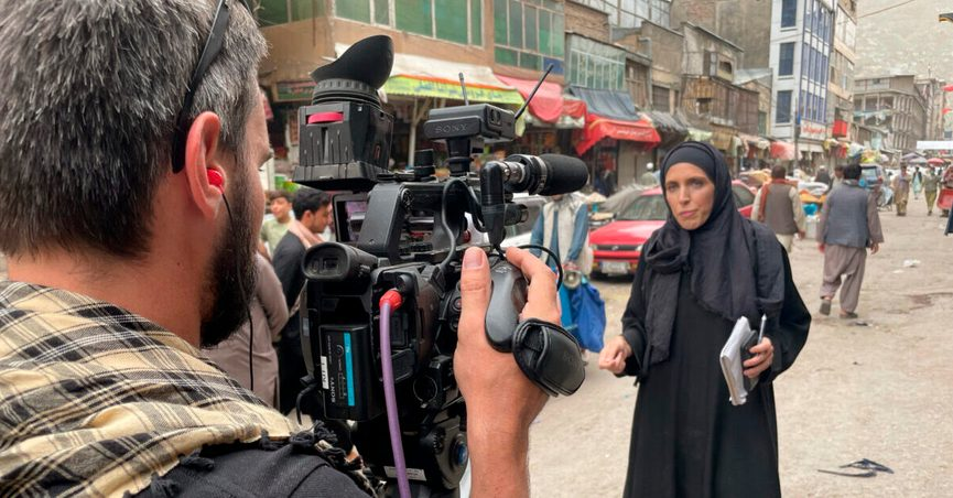 This image provided by CNN shows the network's Chief International Correspondent Clarissa Ward reporting August of 2021 in Kabul, Afghanistan. (Brent Swails/CNN via AP)