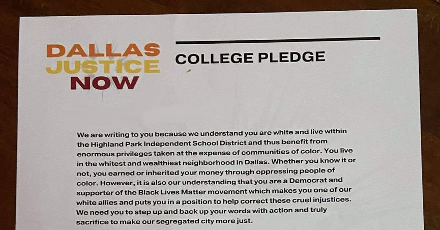 """Right-wing commentators seized upon a """"college pledge"""" sent to white residents of a wealthy Dallas neighborhood. But all was not as it seemed."""