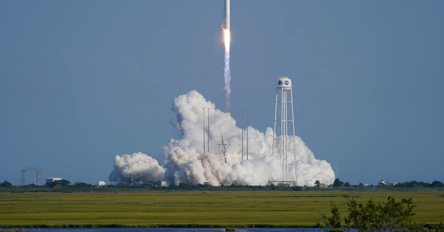 Northrop Grumman's Antares rocket lifts off the launch pad at the NASA Test Flight Facility, Tuesday, Aug. 10, 2021, in Wallops Island, Va. The rocket carries a Cygnus space vessel that will deliver supplies to the International Space Station. (AP Photo/Steve Helber)
