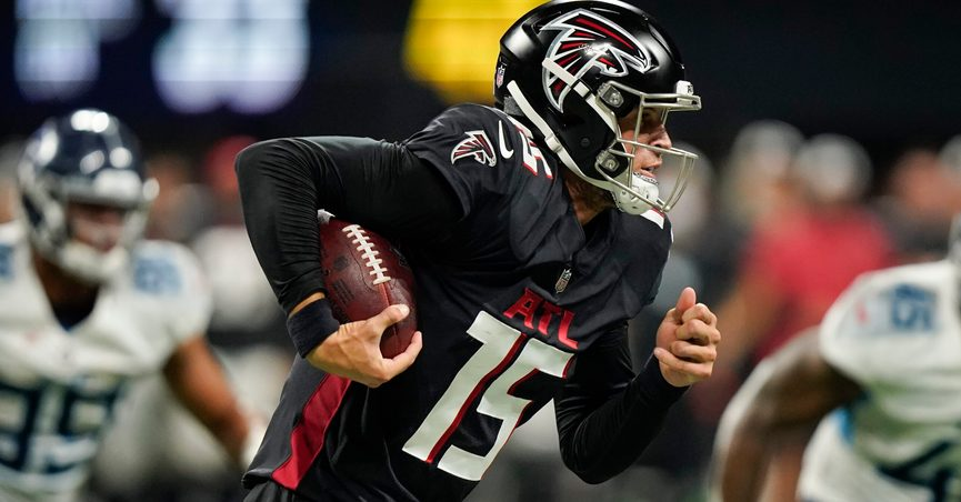 Atlanta Falcons quarterback Feleipe Franks (15) runs the ball out of the pocket against the Tennessee Titans during the second half of a preseason NFL football game, Friday, Aug. 13, 2021, in Atlanta. (AP Photo/Brynn Anderson)