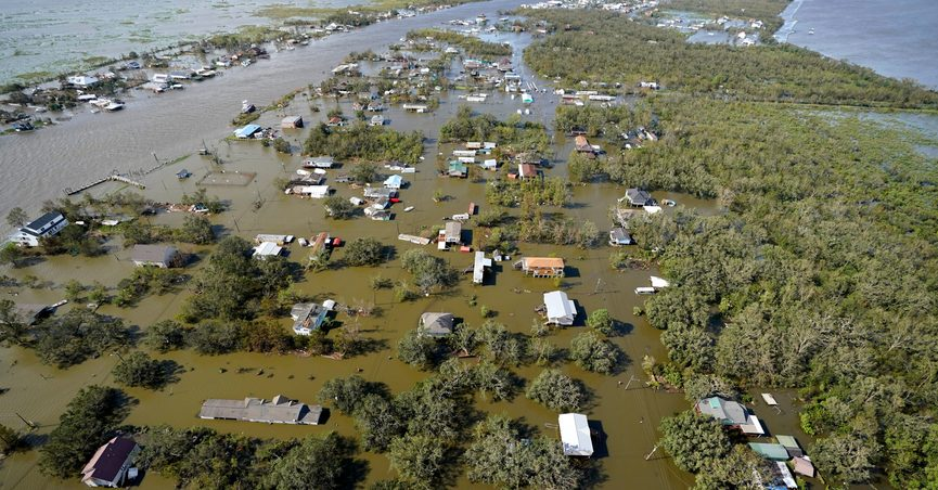 Homes are flooded in the aftermath of Hurricane Ida, Monday, Aug. 30, 2021, in Lafitte, La. The weather died down shortly before dawn. (AP Photo/David J. Phillip)