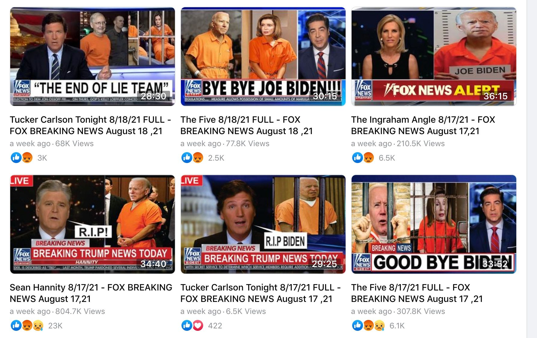 A Facebook page with a Russian name and Bella Calamidades pushed pro-Trump videos from Fox News OAN and Newsmax with altered thumbnails to mislead viewers with the idea that President Joe Biden and House Speaker Nancy Pelosi were going to jail.