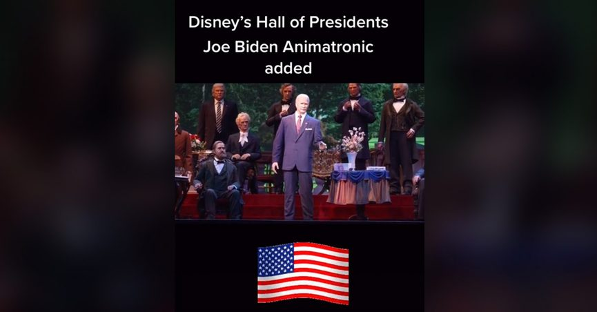 President Joe Biden debuted as an animatronic at Disney World and Magic Kingdom at the Hall of Presidents and Donald Trump was situated behind him in the shadows.