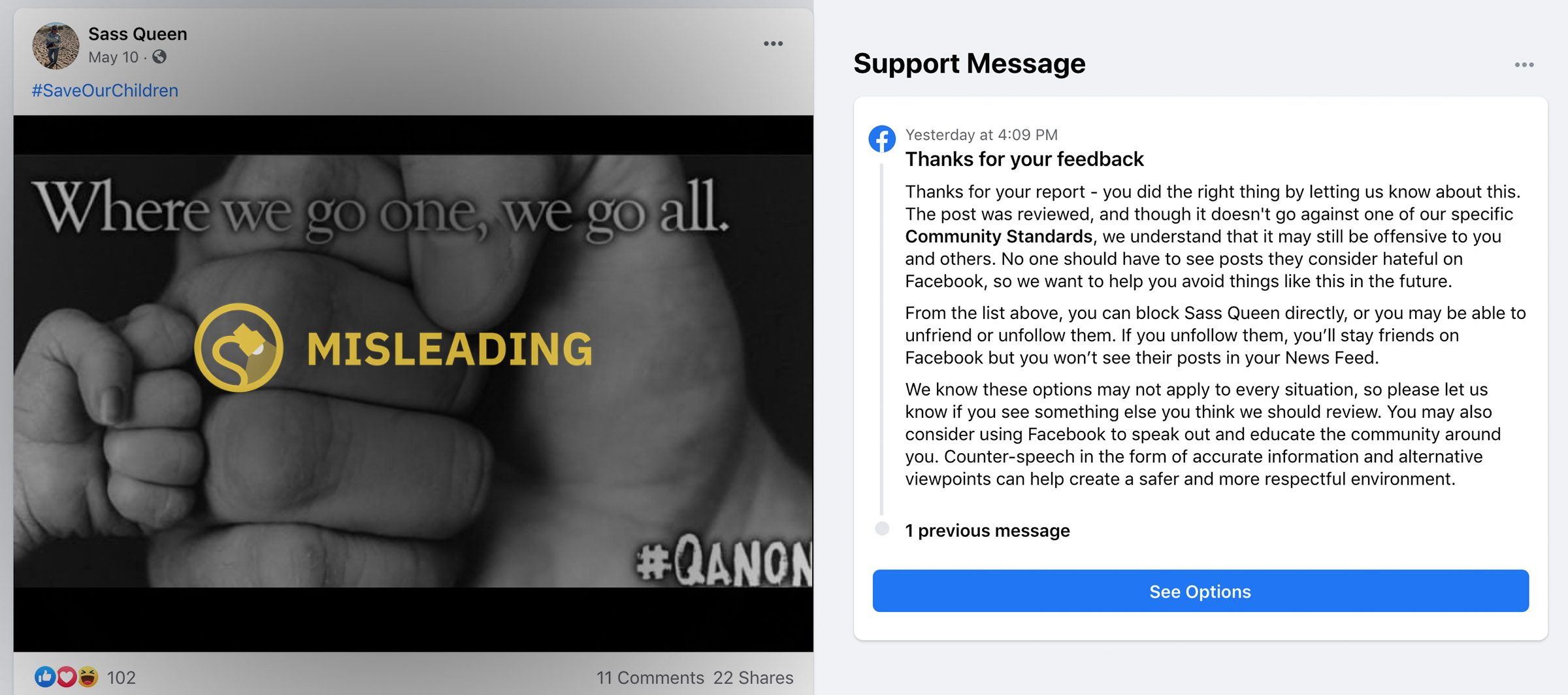 QAnon conspiracy theory content is still thriving on Facebook despite a supposed ban a year ago.