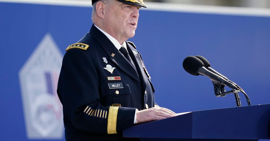 Joint Chiefs Chairman Gen. Mark Milley, speaks during an observance ceremony at the Pentagon in Washington, Saturday, Sept. 11, 2021, on the morning of the 20th anniversary of the terrorist attacks. (AP Photo/Alex Brandon)