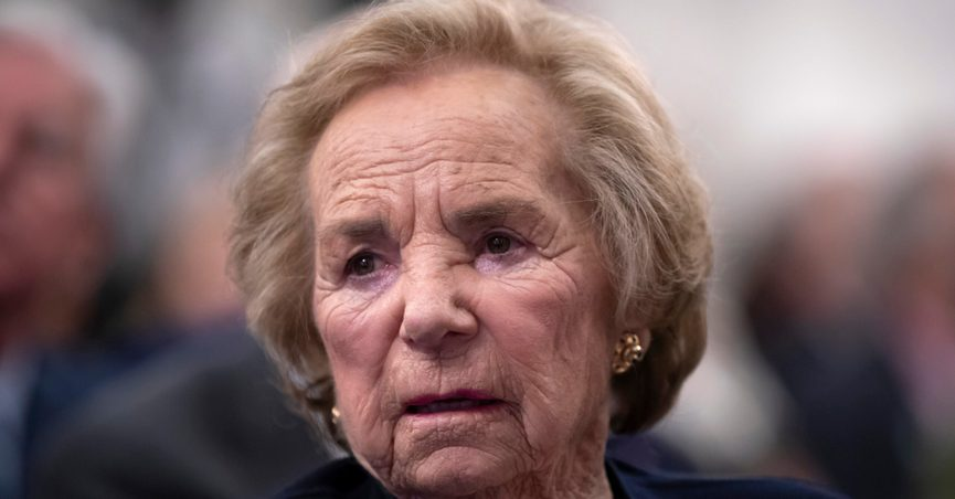 """FILE— In this June 5, 2018 file photograph, Ethel Kennedy, widow of Senator Robert F. Kennedy who was assassinated during his 1968 presidential campaign, watches a video about her late husband during the Robert F. Kennedy Human Rights awards ceremony on Capitol Hill in Washington. In a brief statement released on Twitter by her daughter, lawyer and activist Kerry Kennedy, Ethel Kennedy said bluntly Tuesday Sept. 7, 2021 that her husband's assassin, Sirhan Sirhan, """"should not be paroled."""" (AP Photo/J. Scott Applewhite, File)"""