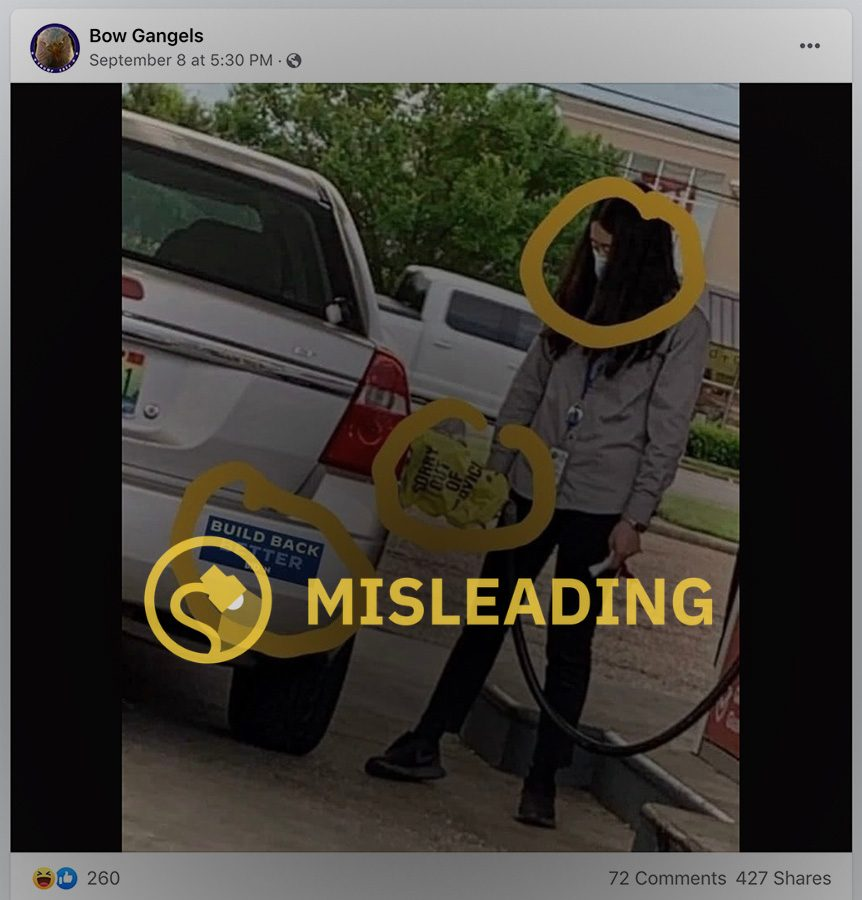 A woman pumping gas at a Circle K near a Walgreens was seen attempting to fill her tank while a yellow bag labeled sorry out of service covered the handle and a Build Back Better Biden bumper sticker appeared to be affixed to the car.