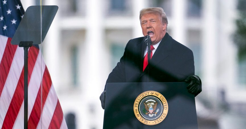 """FILE - In this Jan. 6, 2021, file photo, President Donald Trump speaks during a rally protesting the electoral college certification of Joe Biden as President in Washington. Trump has filed a lawsuit to block the release of documents to the Jan. 6 select committee, challenging the decision of President Joe Biden to release them. Trump claims in the lawsuit that the request """"is almost limitless in scope,"""" and seeks records with no reasonable connection to that day. (AP Photo/Evan Vucci, File)"""