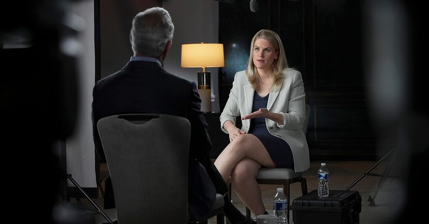 """In this Sept. 16, 2021, photo provided by CBS, Facebook whistleblower Frances Haugen talks with CBS' Scott Pelley on """"60 Minutes,"""" in an episode that aired Sunday, Oct. 3. (Robert Fortunato/CBS News/60 Minutes via AP)"""