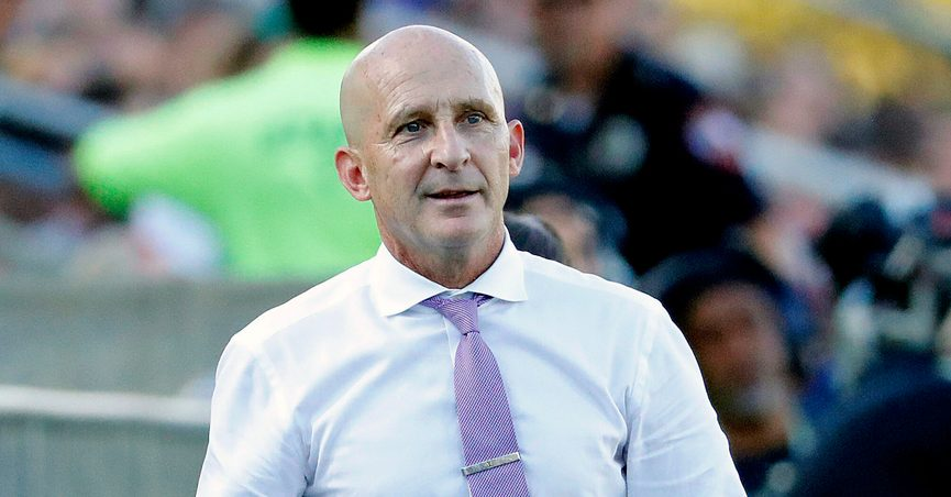 FILE - In this Oct. 27, 2019, file photo, Carolina Courage head coach Paul Riley watches from the sideline during the second half of an NWSL championship soccer game against the Chicago Red Stars in Cary, N.C. The Courage have fired Riley effective immediately after allegations of sexual harassment and misconduct. The allegations were first reported by The Athletic in a story Thursday, Sept. 30, 2021, that detailed misconduct stretching back more than a decade. (AP Photo/Karl B DeBlaker, File)