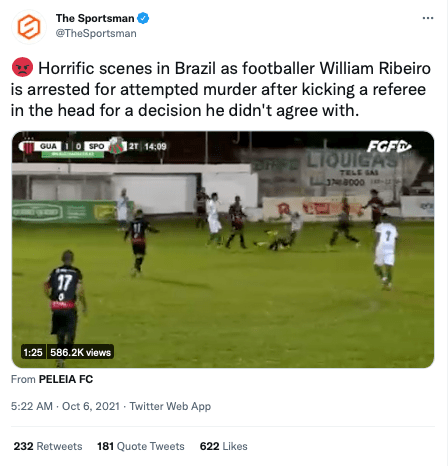 Horrific scenes in Brazil as footballer William Ribeiro is arrested for attempted murder after kicking a referee in the head