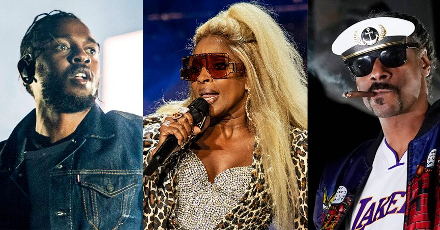 This combination of photos shows, from left, Kendrick Lamar, Mary J. Blige, Snoop Dogg, Eminem and Dr, Dre, who will perform for the first time together on stage at the 2022 Pepsi Super Bowl Halftime Show. NFL, Pepsi and Roc Nation announced Thursday that the five music icons will perform on Feb. 13 at SoFi Stadium in Inglewood, Calif. (AP Photo)